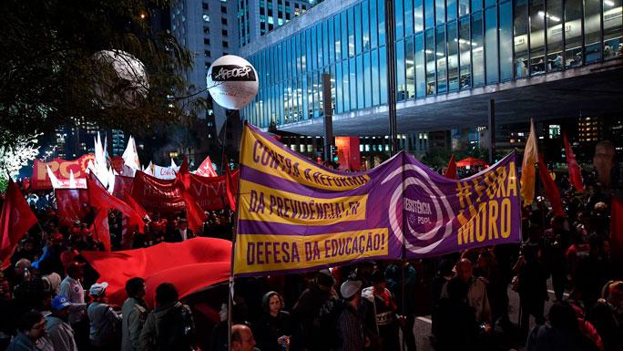protestas-afuera-de-la-camara-de-diputados-reforma-de-pensiones-BRASIL--aprobacion-marco-legal-julio-2019