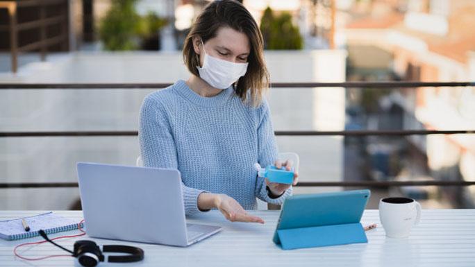 saludable1 oficina trabajo coronavirus gej antibacterial tapabocas